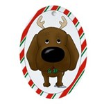 Chocolate Lab Christmas Ornament (Oval)