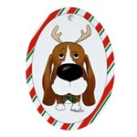 Basset Hound Christmas Ornament (Oval)