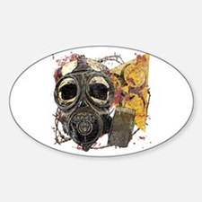 Biohazard Skull in Mask Sticker (Oval)
