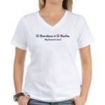 12 Marathons Women's V-Neck T-Shirt