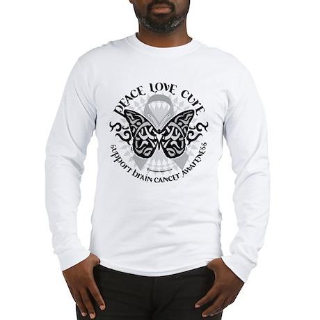 Brain Cancer Butterfly Tribal Long Sleeve T-Shirt