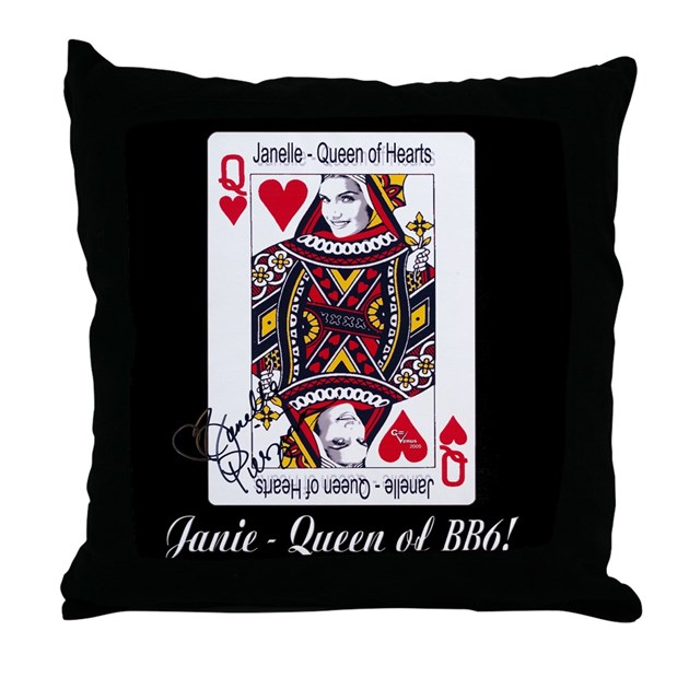 Queen Throw Pillow : Queen of Hearts Throw Pillow (black) by cvenus