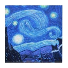 Starry Night Border Collies Tile Coaster