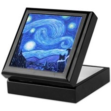 Starry Night Border Collies Keepsake Box