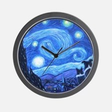 Starry Night Border Collies Wall Clock