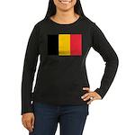 Belgian Flag Women's Long Sleeve Dark T-Shirt