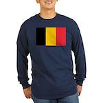 Belgian Flag Long Sleeve Dark T-Shirt