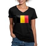 Belgian Flag Women's V-Neck Dark T-Shirt
