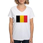 Belgian Flag Women's V-Neck T-Shirt