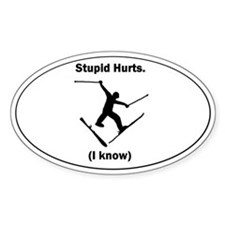 Skiing Stupid Hurts Oval Decal