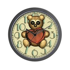 Love Heart Bear Wall Clock