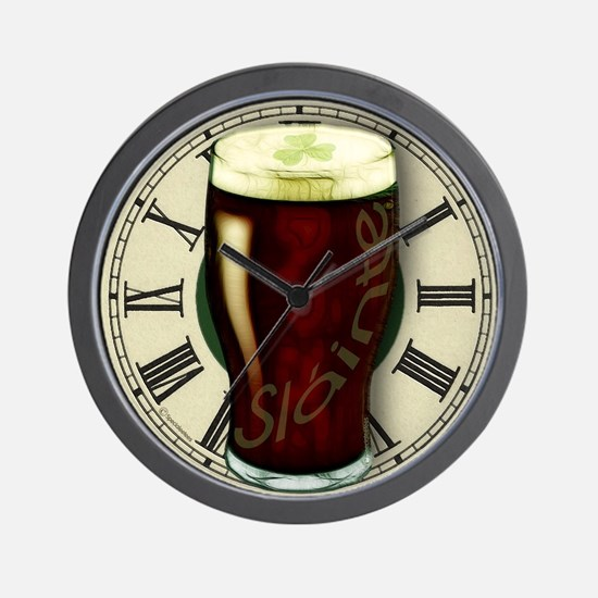 Irish Stout Slainte Wall Clock