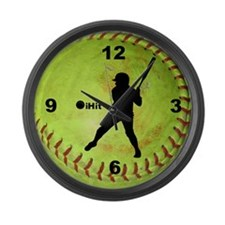 Fastpitch Softball ihit Large Wall Clock