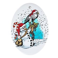 Falcon & Snowman Ornament (Oval)
