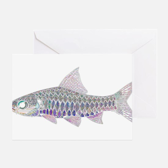 Congo Barb Inverse Line draw Greeting Cards