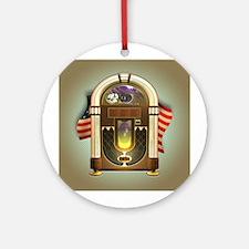 Jukebox & US Flag Ornament (Round)