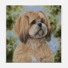 Lhasa Apso by Dawn Secord Tile Coaster