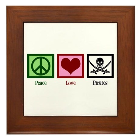 Peace Love Pirates Framed Tile