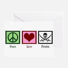 Peace Love Pirates Greeting Card