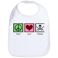 Peace Love Pirates Bib