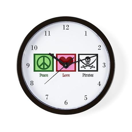 Peace Love Pirates Wall Clock