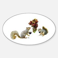 Squirrels Wine Tasting Sticker (Oval)