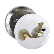 """Squirrel with Wine 2.25"""" Button"""