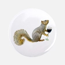 """Squirrel with Wine 3.5"""" Button"""