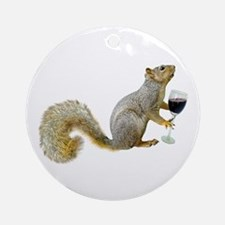 Squirrel with Wine Ornament (Round)