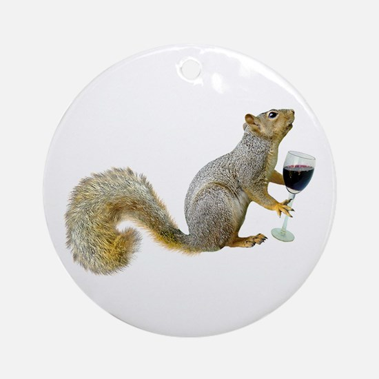 Squirrel with Wine Ornament (Round)