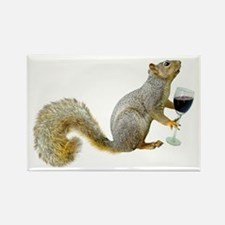 Squirrel with Wine Rectangle Magnet