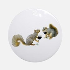 Squirrels Drinking Wine Ornament (Round)