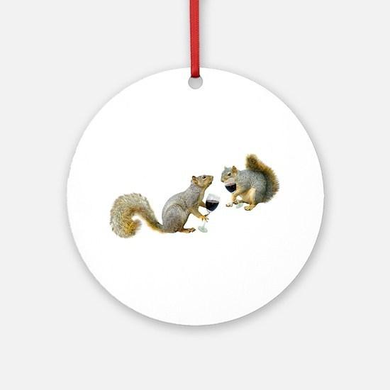 Squirrels Drinking Wine Ornament (Round)