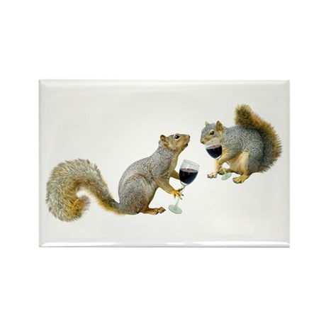 Squirrels Drinking Wine Rectangle Magnet