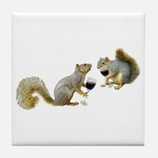 Squirrels Drinking Wine Tile Coaster