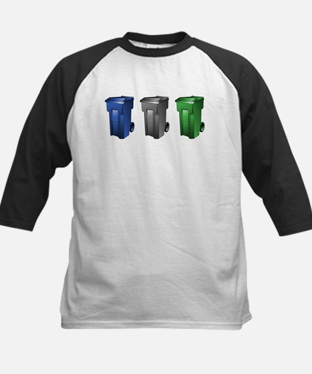 garbage_cans_black_blue_green Baseball Jersey