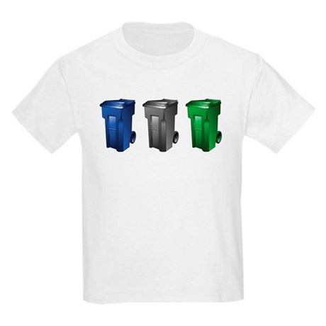 garbage_cans_black_blue_green T-Shirt