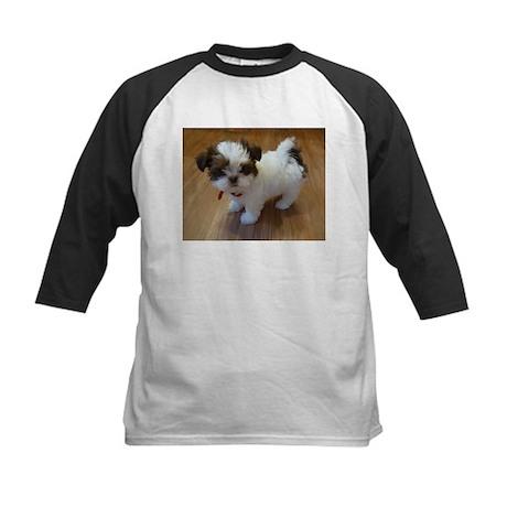 Shih Tzu Puppy Kids Baseball Jersey