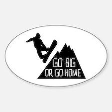 Go Big Snowboarder Sticker (Oval)