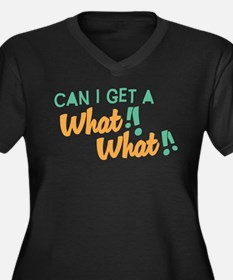 A What What Women's Plus Size V-Neck Dark T-Shirt