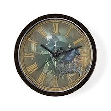 Gothic Black Crow Wall Clock