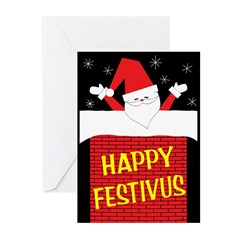 Retro Santa in Chimney Festivus Cards (Pk of 10)