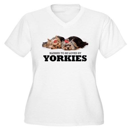 Blessed By Yorkies Women's Plus Size V-Neck T-Shir