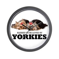 Blessed By Yorkies Wall Clock