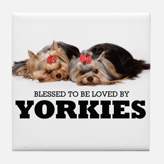 Blessed By Yorkies Tile Coaster