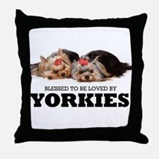 Blessed By Yorkies Throw Pillow