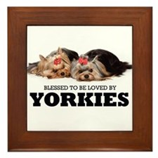 Blessed By Yorkies Framed Tile