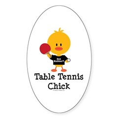 Table Tennis Chick Sticker (Oval)