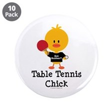 "Table Tennis Chick 3.5"" Button (10 pack)"