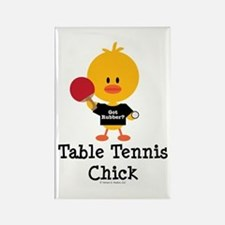 Table Tennis Chick Rectangle Magnet